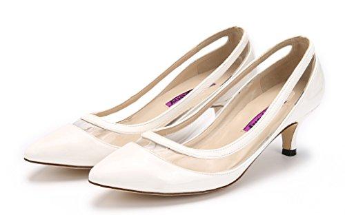 Peu Femmes Chaton Blanc Katypeny Profonde Élégante Chaussures Pure Slip Couleur Bouche Pointu Bout Sur Talon Pompe De Y4qdwqC7