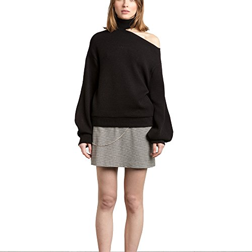 FARCOKO Summer Women Sweaters Casual Loose Solid Color Female Sexy One Shoulder Tops Brief Chic Lady Pullovers (Black, l) by FARCOKO