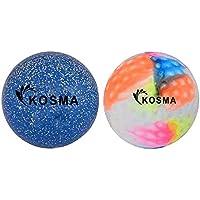 Kosma Set van 2 hockeyballen   Buitensporten PVC praktijk trainingsballen - Multi color Dimple, Blue Glitter