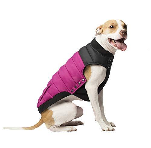 Canada Pooch Summit Stretch Puffer Dog Vest, Plum, Size 18 (Pet Fashion Plum)