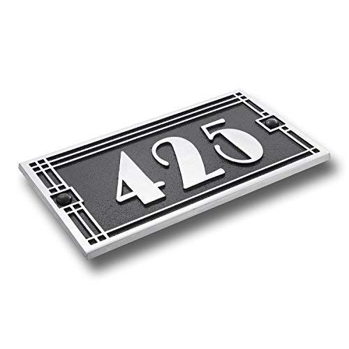 (House Number Address Plaque Art Deco Line Style. Cast Metal Personalised Yard Or Mailbox Sign with Oodles of Number and Letter Options. Handmade in England by The Metal Foundry Just for You)