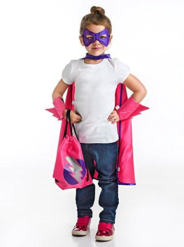Little Adventures Drawstring Backpack Super Hero Costume Gift Set for Girls - One-Size (3-5 (Balerina Costumes)