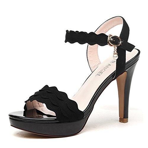 Sandals Amazing 9cm Female Summer High Heels Thick Heel Thick Bottom Woman Mid Heel Shoes (Color : Beige, Size : EU39/UK6/CN39) Black