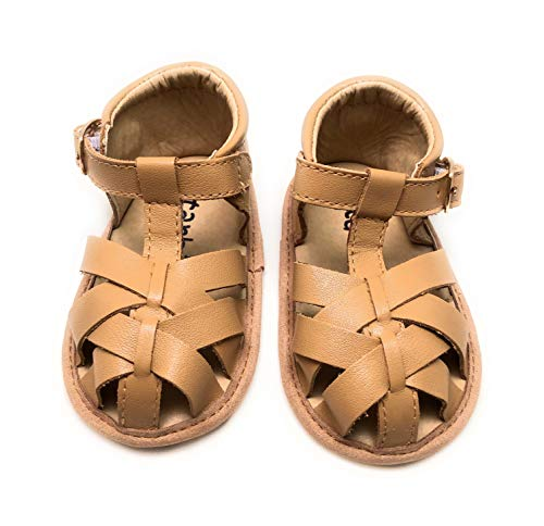 (Premium Leather Baby Sandals, Toddler Sandals for Boys & Girls, Baby Moccasins, Toddler Shoes, Baby Shoes, Soft-Sole Baby Shoes (3 M US, Brown Closed Toe))