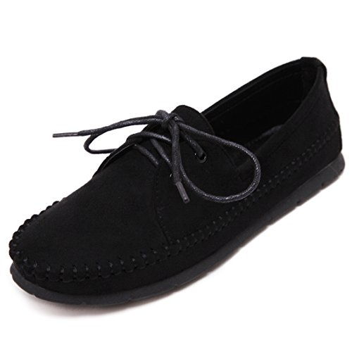 LL STUDIO Womens Casual Lace-up Suede Synthetic Driving Walking Moccasins Loafers Flats Boat Shoes