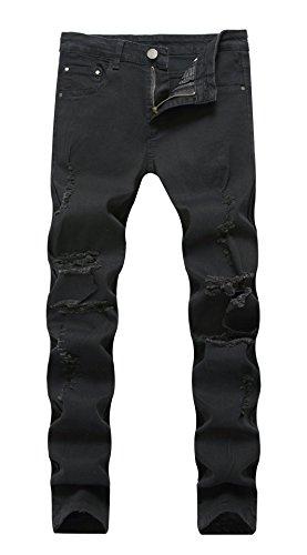 - FEESON Men's Skinny Distressed Broken Stretch Back Rose Embroidery Denim Jeans Black