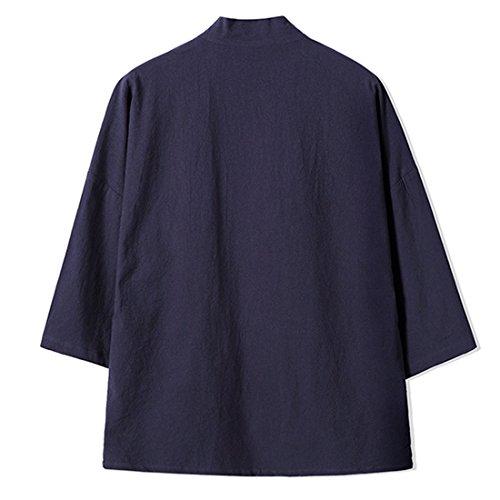 hombre 4 3 para Mirecoo manga capa Abrigo cuello Schwarzblau mao Básico xzS0Fw