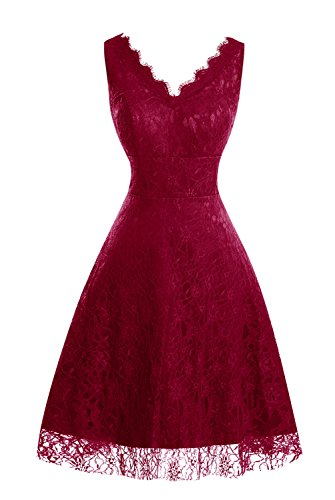 Lace Short Women's Dress Dasior Floral Burgundy Party Bridesmaid V Neck Zq655dwxXH