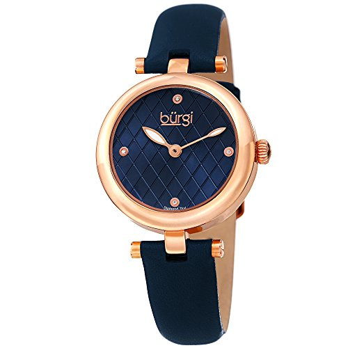 Roses Argyle (Burgi Women's BUR196BU Diamond Accented Argyle Dial Rose Gold & Blue Leather Strap Watch)