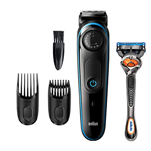 Braun Beard Trimmer BT3240, Hair Clippers for Men, Cordless & Rechargeable with Gillette ProGlide Razor, Black/Blue