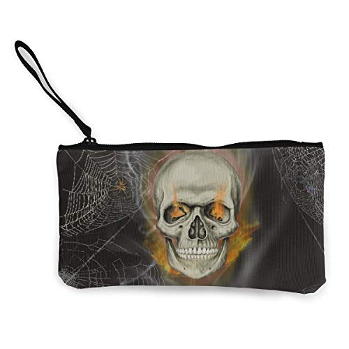 Oomato Canvas Coin Purse Skull Fire Net Cosmetic Makeup Storage Wallet Clutch Purse Pencil Bag]()