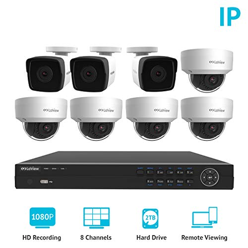 LaView 1080P 2MP IP 8 Camera Security System, 8 Channel IP PoE HDMI NVR (Resolution 1080p) w/2TB HDD 5 Dome 3 Bullet Hi-Res Weatherproof White Surveillance Camera Kit