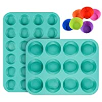 Silicone Muffin Cupcake Pan Set - Mini 24 Cups and Regular 12 Cups Muffin Tin, Nonstick BPA Free Best Food Grade Silicone Molds with Bonus 12 Silicone Baking Cups