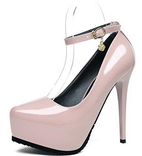 Aalardom Womens Pu Soft Material Solidi Spuntoni-tacchi A Spillo Pumps-shoes Nude-fibbia