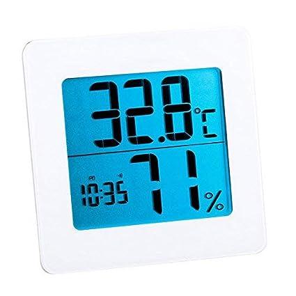 YUIOP Higrómetro digital, monitor de humedad, pantalla LCD, reloj despertador integrado, medidor