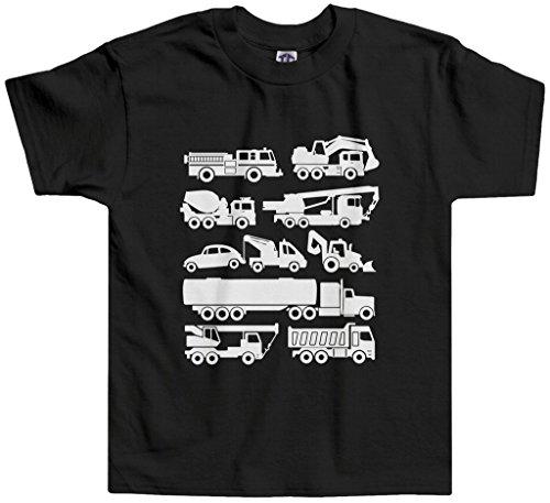 Threadrock Little Boys' Trucks Toddler T-shirt 3T Black