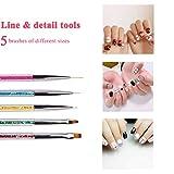 Double Ended Nail Art Brushes, TEOYALL 5 PCS Nail