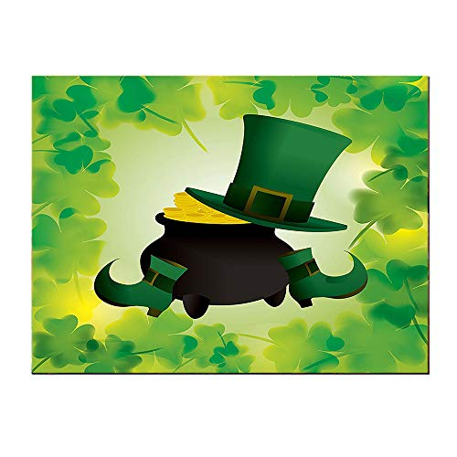 SATVSHOP Canvas Modern Home painting-24Lx24W-St. Patricks Day Leprechaun Hat and Sho Costume with Pot of Gold with Shamrock Leav for Green.Self-Adhesive backplane/Detachable Decorative -