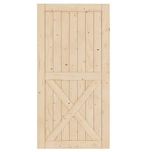 EaseLife 42in x 84in Sliding Barn Wood Door Slab,Solid Nature Spruce,DIY Unfinished Panel,Interior Door,Easy Install,X…