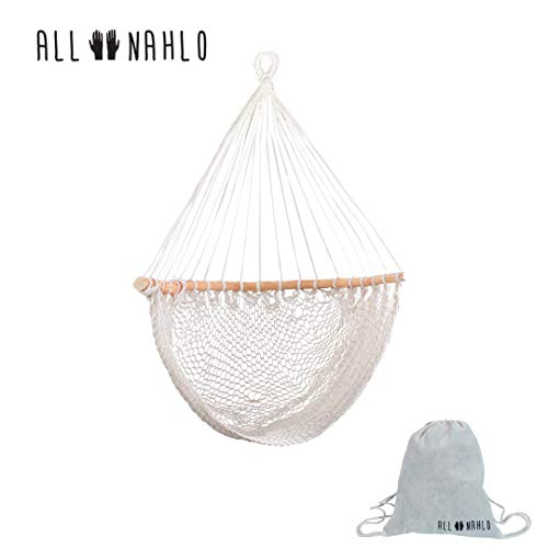 ALL NAHLO The Antonia Hammock Chair Swing Cotton Rope Bedrooms Seat 1 Unit – Curved Wood Comfortable Bed Durable Large Yard Bedroom Porch Indoor Garden Lightweight Hammocks Person Tree Pillow