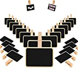 TableRe 24 Pack Mini Blackboard Clips, Wooden Message Board for Memo, Note Taking, Food Label, Party