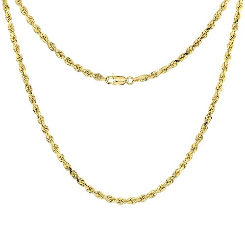 Solid Yellow 14K Gold Rope Chain Necklace 3 mm Diamond Cut 20 inch