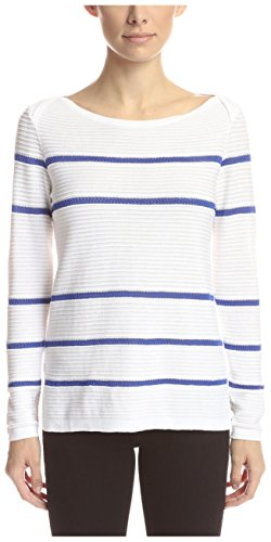 Cullen Women's 3/4 Sleeve Boat Neck Stripe Sweater, White Combo, M Cullen Cotton Sweater