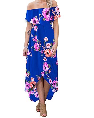 lexiart Off Shoulder Bodycon Dress Strapless Flower Hawaiian Dress Beach Summer Blue XL -