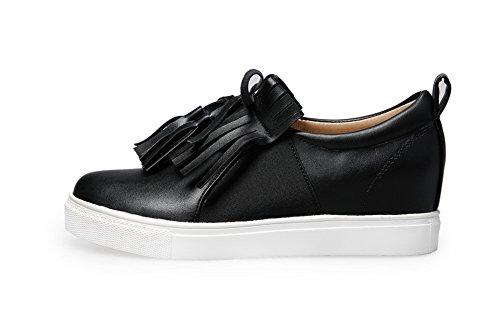 Balamasa Filles Slip-on Talons Bas En Polyester Solide Pompes-chaussures Noir
