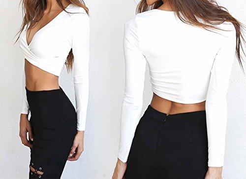 Automne Sexy Blouses Fashion Col Haut Shirt Unie Printemps Court Longues V Blanc Chemisiers Couleur T Femmes Crop Tops et Tee Manches Onlyoustyle 6IwRqE