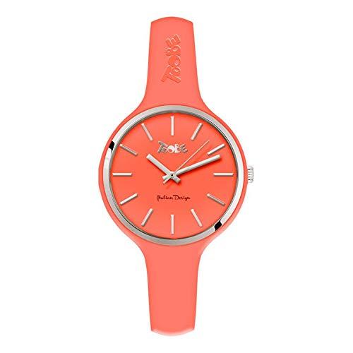 Reloj mujer Toobe Boccadamo de silicona antialérgica Color Pesca y abrazadera Silver
