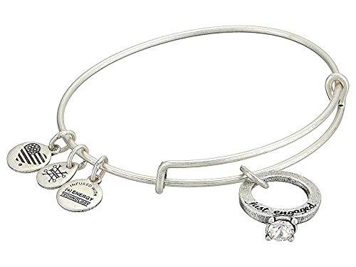 Alex and Ani Women's Just Engaged Bangle Bracelet, Rafaelian Silver