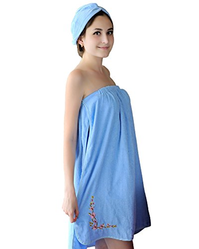 ICOOLYI Women's Spa Wrap Set Cozy Terry Cloth Bath Towel Cover-up Bathrobe with Drying Hair Hat (27'' x 59'', Blue) - 27' Cabinet