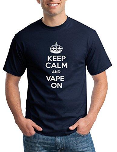 Keep Calm and Vape Vaporizer E Cig Lifestyle Tee Blue L (Vaporizer For Smoking For Men compare prices)