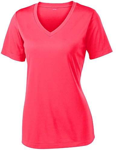 Opna Women's Short Sleeve Moisture Wicking Athletic Shirt, XX-Large, Hot Coral