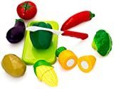 Verbaby Healthy Vegetables Play Food Set Toys for Kids with Chopping Knife and Green Chopping Board for Early Development Education