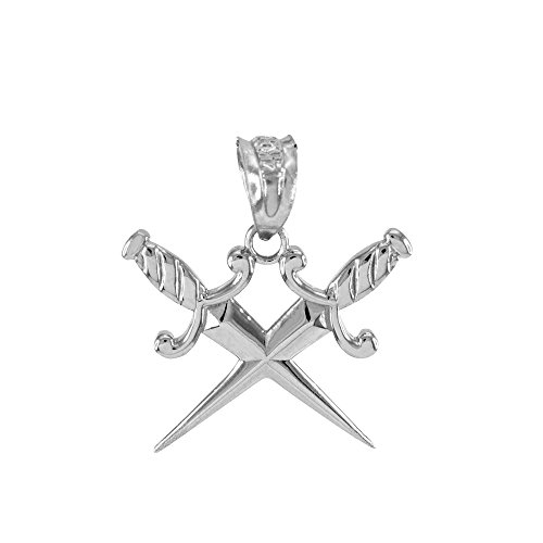 Pendant Charm Dagger (Polished 925 Sterling Silver Crossing Daggers Charm Pendant)