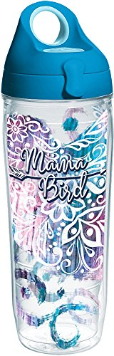 Tervis 1294781 Mama Bird Insulated Tumbler with Wrap and Turquoise Lid, 24 oz Water Bottle - Tritan, Clear