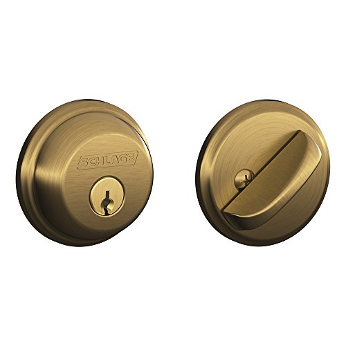 Schlage B60N609 Deadbolt, Keyed 1 Side, Antique Brass