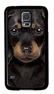 Diy Fashion Case for Samsung Galaxy S5,Black Plastic Case Shell for Samsung Galaxy S5 i9600 with Black Dog Kimberly Kurzendoerfer