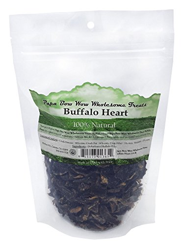Papa Bow Wow Buffalo Heart Dog Treat, 1/2 Lb