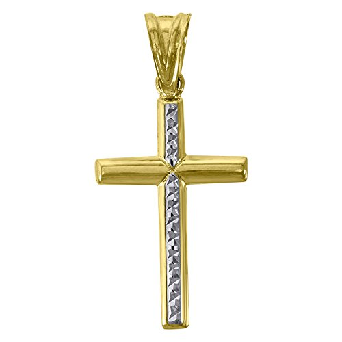- Jewels By Lux 10kt Gold Two-tone DC Polished Mens Cross Ht:15.1mm x W:14.9mm Religious Charm Pendant.