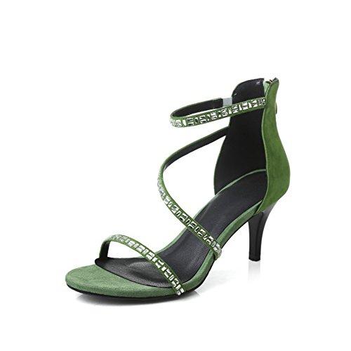 Zapatos Un Rhinestone Tacón Tacón Summer Mujer Verde de Aguja Caminar Comfort para Negro para Grueso PU Zapatos Sandalias de wSUYBqnn