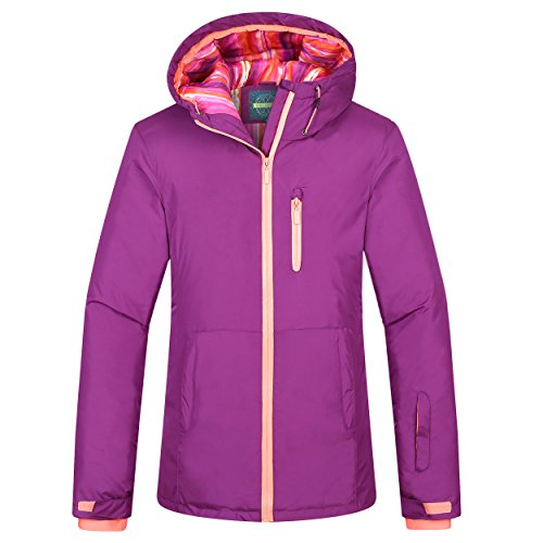 chusanhi Windproof Snow Ski Jacket For Women Insulated Winter Hooded Breathable Outdoor Hiking Coat Waterproof Skiing Jackets Water Resistant Mountain Outwear Purle X Large
