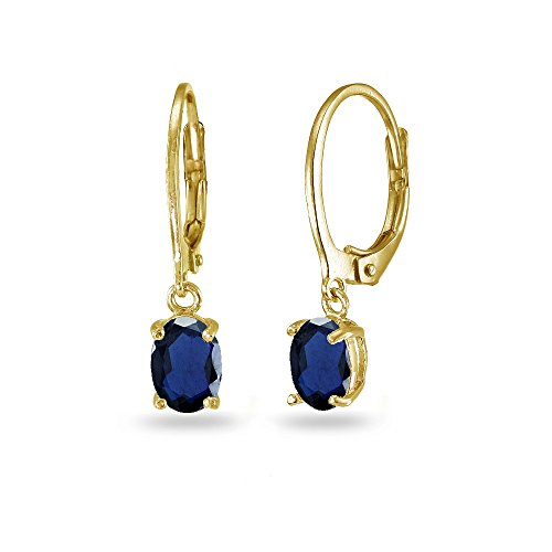 LOVVE Yellow Gold Flashed Sterling Silver Created Blue Sapphire 7x5mm Oval Dangle Leverback Earrings