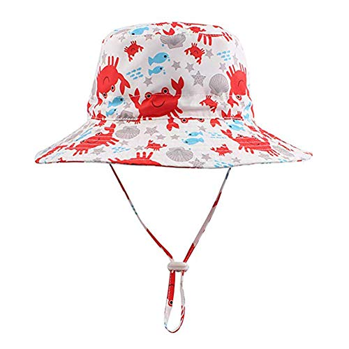 Tbfun Toddler Baby Sun Hat UV Sun-Protection Wide Brim Boys Girls Crab Bucket Hats Adjustable Breathable Summer Beach Quick-Dry Sunhats for Kids