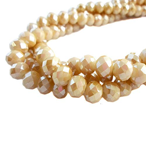 - BeadsOne 4mm - 150 pcs - Glass Rondelle Faceted Beads Champagne Matte Brown for jewerly Making findings Handmade jewerly briolette Loose Beads Spacer Donut Faceted Top Quality 5040 (AB C96)