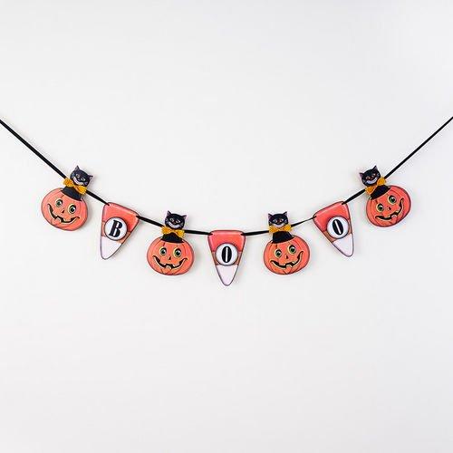 Halloween Vintage-Style Boo Paper Banner Black Cat Jack O Lanterns 48