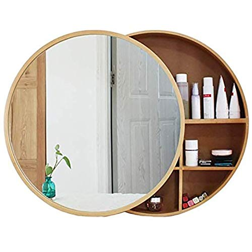 Admir Round Bathroom Mirror Cabinet Wall Mounted, Wall Storage Shelves Bath Wood -