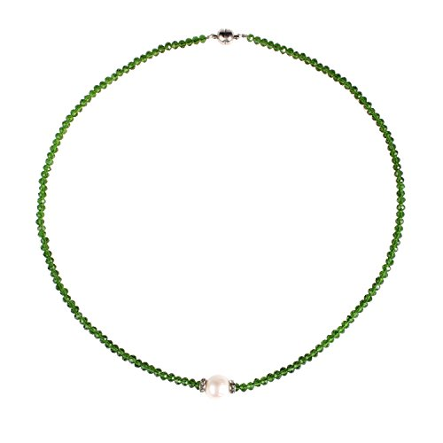 (Bonnie Gemstone Pearl Choker Necklace Single Pearl Necklace Freshwater Pearl Jewelry (Green))